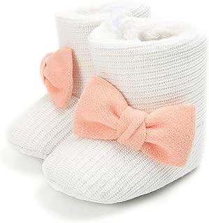 iChunhua Newborn Baby Girls Solid Snow Boots Bowknot Winter Warm Plush Crib Shoes