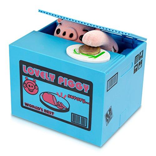 Grinscard Spardose Kiste mit Schwein - Blau Piggy Bank Design - Gadget Elektro Sparbüchse als Geschenkidee