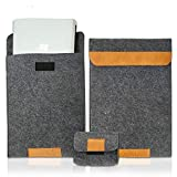 OOKU 14 - 15.6 Inch Wool Felt Laptop Sleeve w/ Leather Accents w/ Mouse Accessory Case | Compatible with MacBook Pro 2015-2018 Dell XPS 15 HP Envy X360 Pavilion 15' Protective Laptop Case Cover | Gray