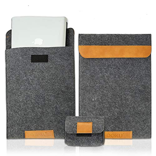 OOKU 13 - 13.5 Inch Wool Felt Laptop Sleeve w/ Leather Accents w/ Mouse Accessory Case | Compatible for MacBook Air 13/MacBook Pro 13/iPad Pro 12.9/Surface Pro 13' Protective Laptop Case Cover | Gray