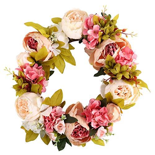 SCOUT Corona de flores artificiales guirnalda de flores – Corona para puerta de 16 pulgadas corona de primavera corona para puerta de entrada, boda, decoración para casa