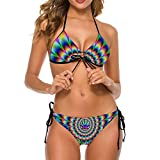 NiYoung Women's Two Piece Halter Top Triangle Bottom Bikini Set, Tie Dye Trippy Marijuana Cannabis Weed Leaf, Sexy Swimsuit Bathing Suits Perfect for Summer Holiday Beach (M)