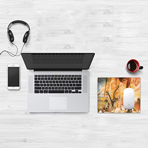 Comfortable Mouse Pad 32x25 cm,Decoración Jurásica, Dinosaurios Escapándose Muriendo Gran Meteorito Choque Calor y,Base de Goma Antideslizante Wipe Washable para Gamers Ordenador, PC y Laptop32x25 cm
