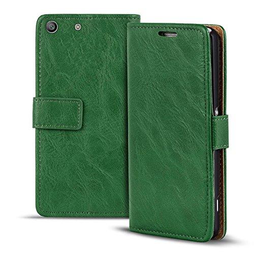 Conie RW38725 Retro Wallet Kompatibel mit Sony Xperia M5, Klapphülle Tasche Vintage Leder Design für Xperia M5 Etui mit Kartenfächer Vintage Grün