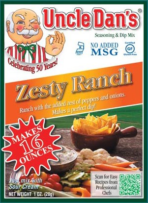 Uncle Dan's Dips, Seasonings and Salad Dressings Mix Packets - Zesty Ranch - Single Packet