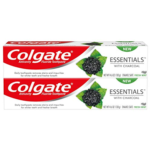Colgate Charcoal Teeth Whitening Toothpaste with Fluoride, Natural Mint Flavor, Vegan - 4.6 ounce, 2 pack (packaging may vary)