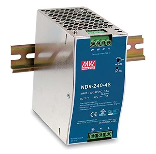 NDR 240-24 | NDR-240-24 | MEANWELL POWER SUPPLY, 90-264VAC INPUT, 1 PHASE, 24VDC OUTPUT, 10A, 240W, DIN RAIL MOUNT
