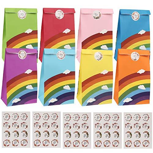 Papiertüten, Mitening 48 Stück Bunte Geschenktüten mit 60 Aufkleber Klein Candy Tüten zum Verpacken Mitgebsel Kindergeburtstag für Kinder Geschenken Weihnachte Ostertüten Giveaways Hochzeit Party
