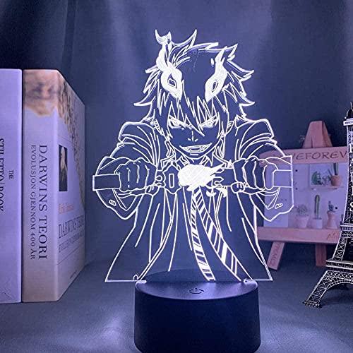 Lâmpada noturna 3D de ilusão de anime, luz LED 3D, Anime Blue Exorcist Rin para decoração de quarto, luz noturna, presente de aniversário, mangá, sala de mesa, 3D, exorcista azul QLWLKJ HOICHAN