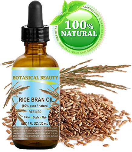 RICE BRAN OIL - Oryza sativa. 100% Pure / Natural / Refined / PREMIUM QUALITY/ Undiluted Cold Pressed Carrier Oil for for FACE, BODY, HANDS, FEET, NAILS & HAIR and LIP CARE. (1 Fl. oz. - 30 ml.)