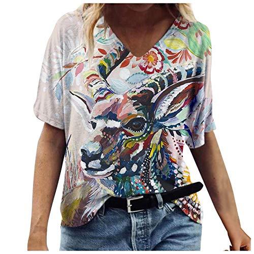 FNKDOR Elegant Vintage Print Casual T-Shirts Women's Summer Top Floral Printed V Neck Short Sleeve Tops Novel Chic Print Tee Blouse