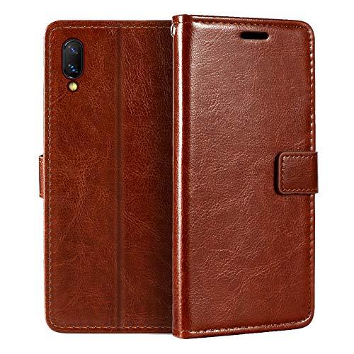 Vivo Nex S Étui portefeuille en cuir synthétique de qualité supérieure avec porte-cartes et béquille pour Vivo Nex S