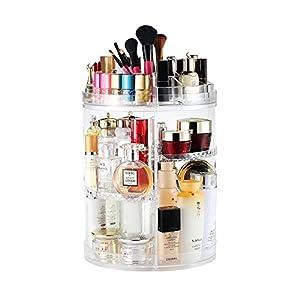 Boxalls Organizador de Maquillaje de Giratorio, Transparentes | Organizador de Cosméticos con Rotación 360 Grados, Ajustable, Compartimento de Almacenamiento de Cosméticos con Múltiples Funciones