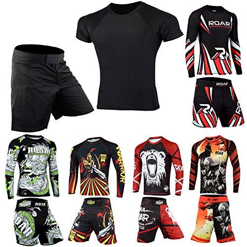ROAR MMA Rash Guard & BJJ Shorts Set Mens Women Fight Wear Kids Grappling Training (Simple-Black-2Pcs, XLarge)