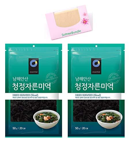 (2 Packs) Korea Dried Seaweed Sea Mustard Wakame, Pre-cut sliced for Soup and Salad (1.7Oz/50g) with SoltreeBundle Natural Hemp Paper 50pcs