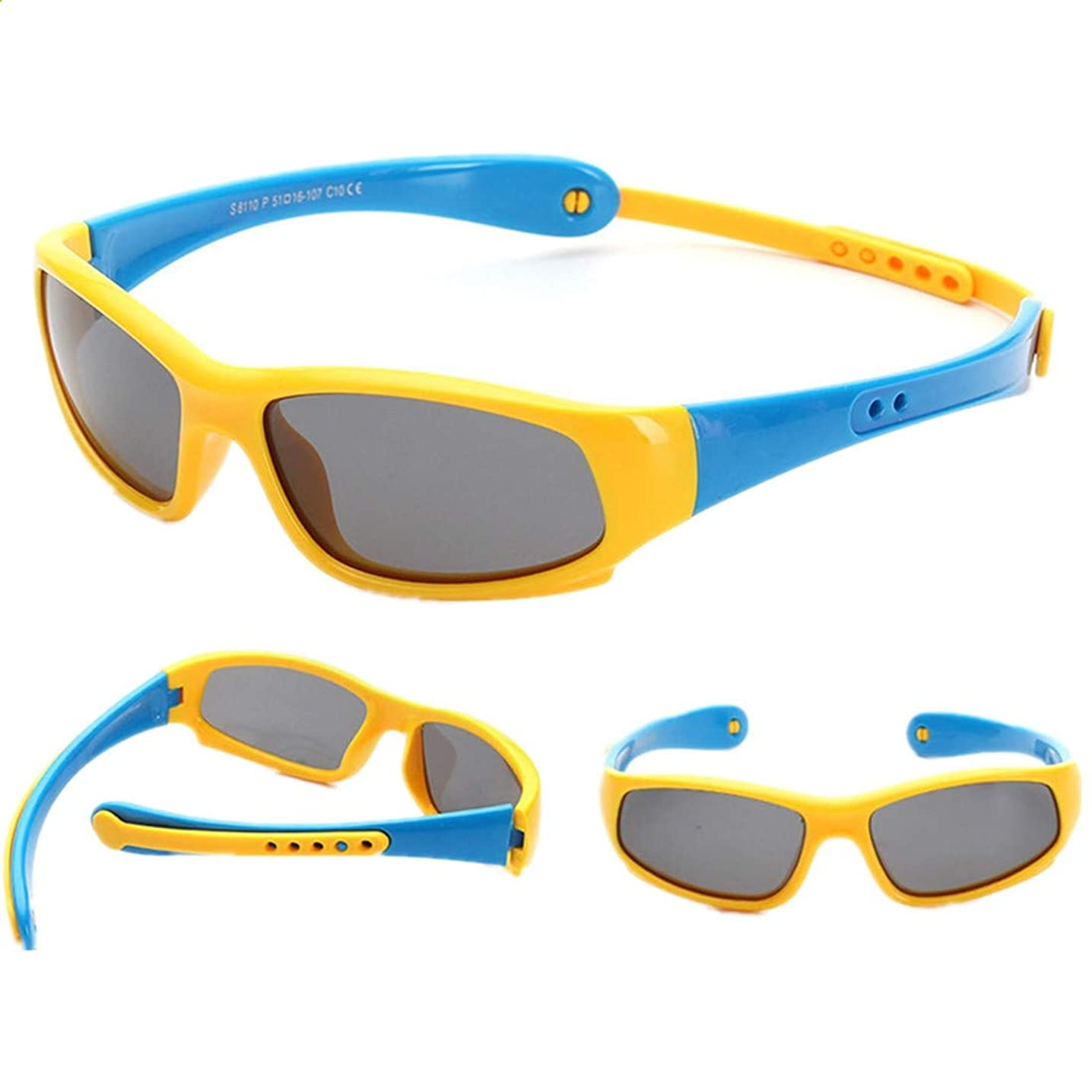 Famyfirst Toddler Sunglasses with Strap, UV Proof Flexible Silicone Rubber Unbreakable Polarized Sport Sunglasses for Kids Boys Girls Youth Baby Children Age 3-10 (Yellow Blue)
