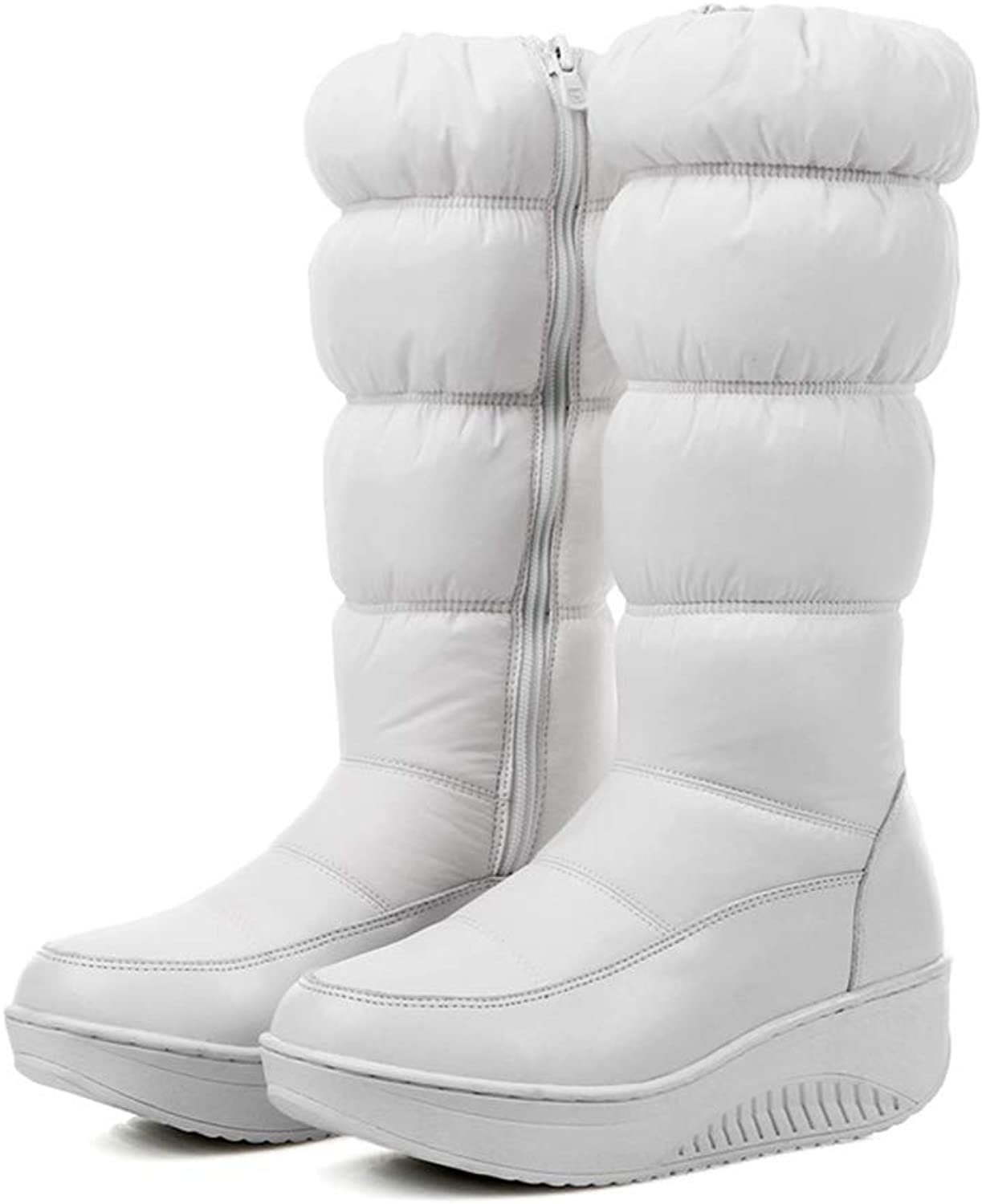 Hoxekle Fashion Women Mid Calf Boots Black White bluee Snow Boots Wedges Platform Zipper Down Waterproof Winter shoes