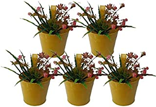 Royal Baskets Round Railing Planter / Plant pots (Yellow, Pack of 5)…
