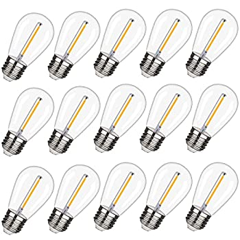 EMITTING Shatterproof & Waterproof S14 Replacement LED Light Bulbs –1W Equivalent to 10W White Warm 2200K Outdoor String Lights Vintage LED Bulbs E26 Base Edison LED Light Bulbs  S14-15PACK