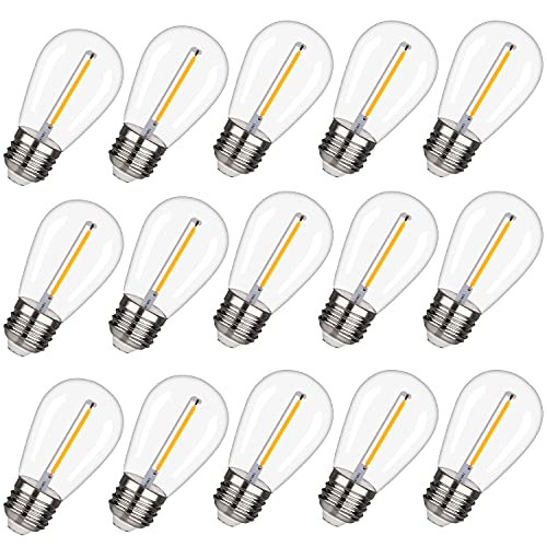 EMITTING Shatterproof & Waterproof S14 Replacement LED Light Bulbs –1W Equivalent to 10W, White Warm 2200K Outdoor String Lights Vintage LED Bulbs, E26 Base Edison LED Light Bulbs (S14-15PACK)
