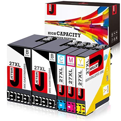 JETSIR, cartucce di inchiostro di ricambio per Epson 27, compatibili con stampanti Epson WorkForce WF-3640 3620 7610 7110 7620 (2BK 1C 1M 1Y) 1set+1bk