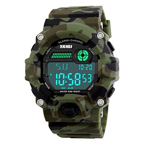 TONSHEN Digital Uhr für Männer 50M Wasserdicht Outdoor Sportuhr Stoppuhr LED Licht Militär Tactical Armbanduhr Camouflage Kautschuk Band Herren Uhr