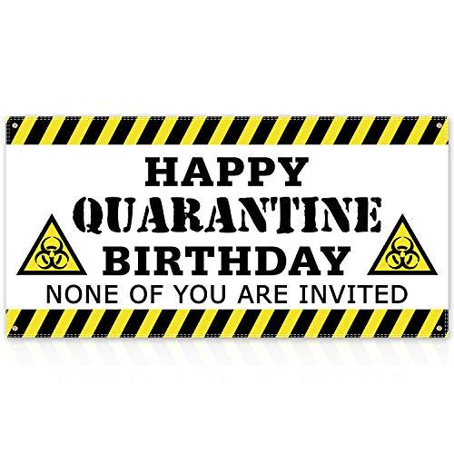 Quarantine Birthday Banner (White) Quarantine Birthday Party Decorations Quarantine Birthday Backdrop Quarantine Birthday Funny Poster Decor Stay Home Party Sign
