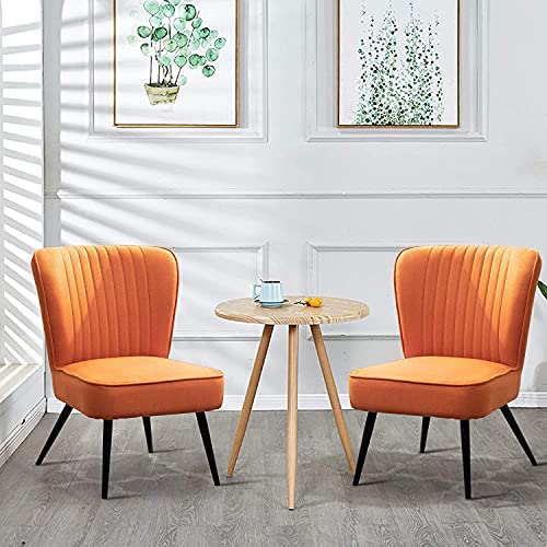 Andeworld Linen Accent Chairs Set of 2 Upholstered Living Room Chairs Modern Leisure Club Chairs Large Seat Armless Sofa Chairs Ergonomic Side Chair Orange