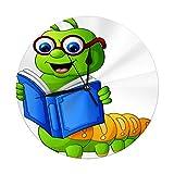 Butty Reloj de Pared sin tictac Caterpillar Reading Book Digital Round Clock