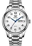 Men Watches Silver Color Easy Reader Analog Number Dial Wrist Watch for Male, Classic Light Stainless Steel Waterproof Day Date OLEVS Watch