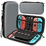 HEYSTOP Funda Compatible con Nintendo Switch, Funda de Viaje para Switch con Más Espacio de Almacenamiento para 8 Juegos, Funda Compatible con Nintendo Switch Console & Accesorios (Gris)