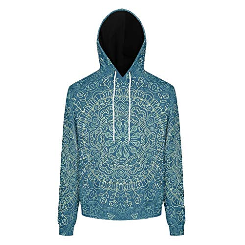 O5KFD&8 Sweat-Shirt à Manches Longues pour Homme et Fille Motif Mandala Bleu foncé Personnalisable XL Blanc