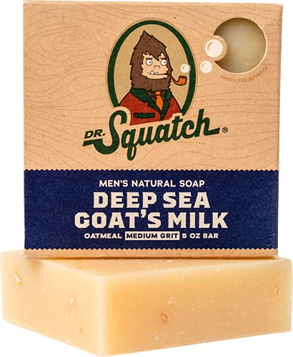 Deep Sea Goat's Milk Soap – Goat Milk and Oatmeal Soap Bar for Dry Skin and Eczema – Exfoliating and Moisturizing with Organic Oils by Dr. Squatch