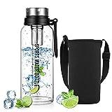 ZDZDZ - Botella de agua con infusor de cristal de 1,5 l, con funda protectora para gimnasio, senderismo, camping
