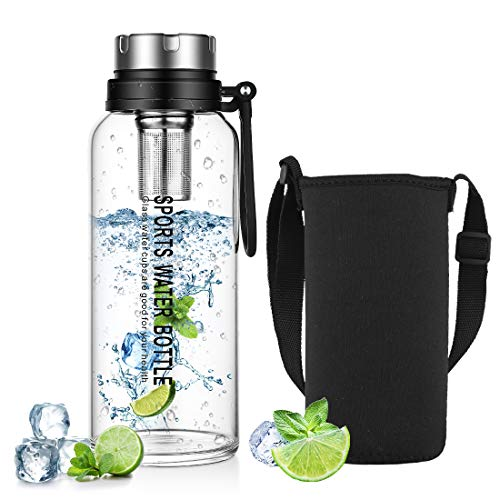 Botella de agua de vidrio con funda de neopreno