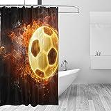 FANTAZIO Duschvorhang Fireball Fußball Polyester Badvorhang mit dicken C-förmigen Haken für Badezimmer, wasserdicht, langlebig & superwasserdicht, 183 x 183 cm