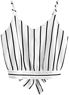 Foowni Women's Self Tie Back V Neck Striped Crop Cami Top Camisole Blouse
