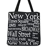 New York Black and White Canvas 100% (14 inches) Cotton New York City Tote Bag Souvenir