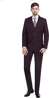 Men's 3-Piece Dress Suit Modern Fit Two Button Tuxedo Blazer Jacket Tux Vest & Pleat Pants Set