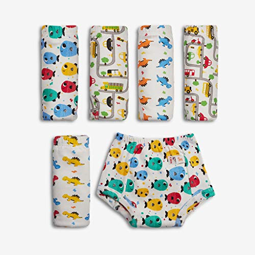 Superbottoms Padded Underwear-Pack of 6- Potty Training Pants for Babies/ Toddlers/ Kids. 100% Cotton,Padded,Semi Waterproof, Pull Up Unisex Underwear Trainers For Girls and Boys-Striking whites (Size 2)