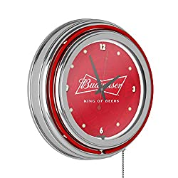 Trademark Gameroom Budweiser Chrome Double Rung Neon Clock - Bow Tie