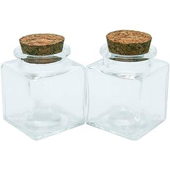 6pcs 50ml Frascos de Vidrio Vacía Transparente con Corcho, Mini Botellas de Cristal Cuadrado, Adecuado para Casarse Botella Pequeña al por Mayor Que Desea: Amazon.es: Hogar