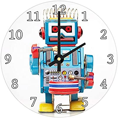 hiusan Retro Blue Red Toy Robot Modern Wood Wall Clocks Silent Noticking Decorative for Living Room