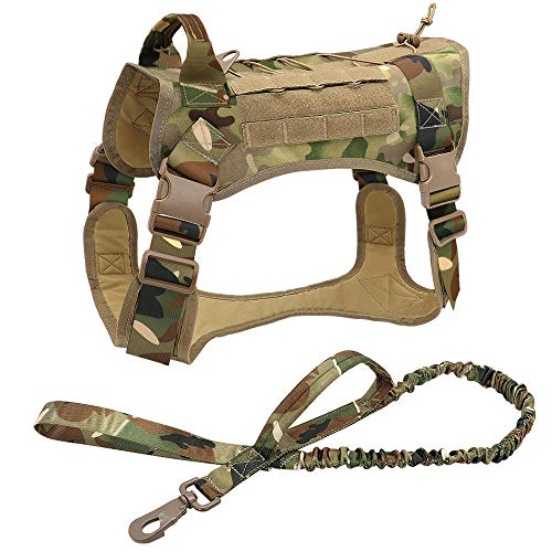 Chaleco para Mascotas Arnés táctico para Perros Ropa para Perros de Trabajo Militar Conjunto de Correa para Perros Arnés para Perros Perro Mediano Grande Pastor alemán-Camouflage_Set_L