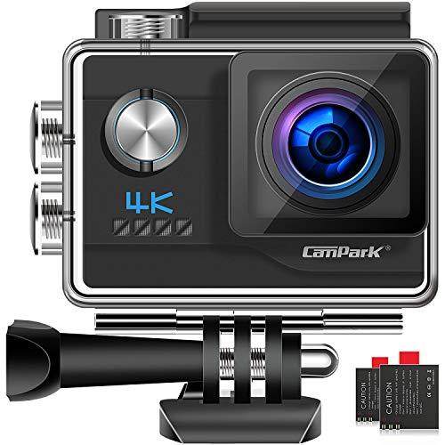 Campark V20 - Cámara deportiva de 4 K Ultra HD de 20 MP con wifi, cámara EIS anti-Shake y videocámara impermeable de 40 pulgadas, con 2 baterías y kit de accesorios
