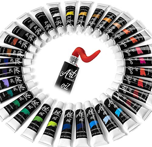 Oil Paint Set - 32 Color Painting Set for Artists, Adults & Kids. Complete Collection of Pigment Rich Oil Based Paints. Professional Art Supplies Kit w/ 12 ml Tube Colors & Extra Paint Brush :)