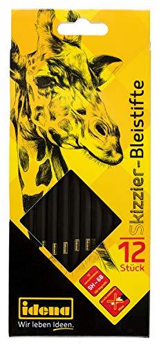 Idena 23906 - Bleistifte zum Skizzieren, Verschiedene Härtegrade, 12 Stück