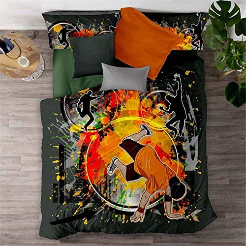 BH-JJSMGS Duvet cover 3D graffiti oil color painting bedding set, luxurious and soft, easy to care, microfiber soft, hip hop Single135*200cm