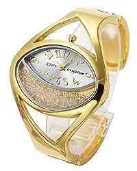 Gold #1 & Silver Tone Analog Bracelet Watch Oval Case Rhinestones