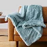Amazon Basics Shaggy Long Fur Faux Fur Sherpa Throw Blanket, 50'x60' - Teal Blue